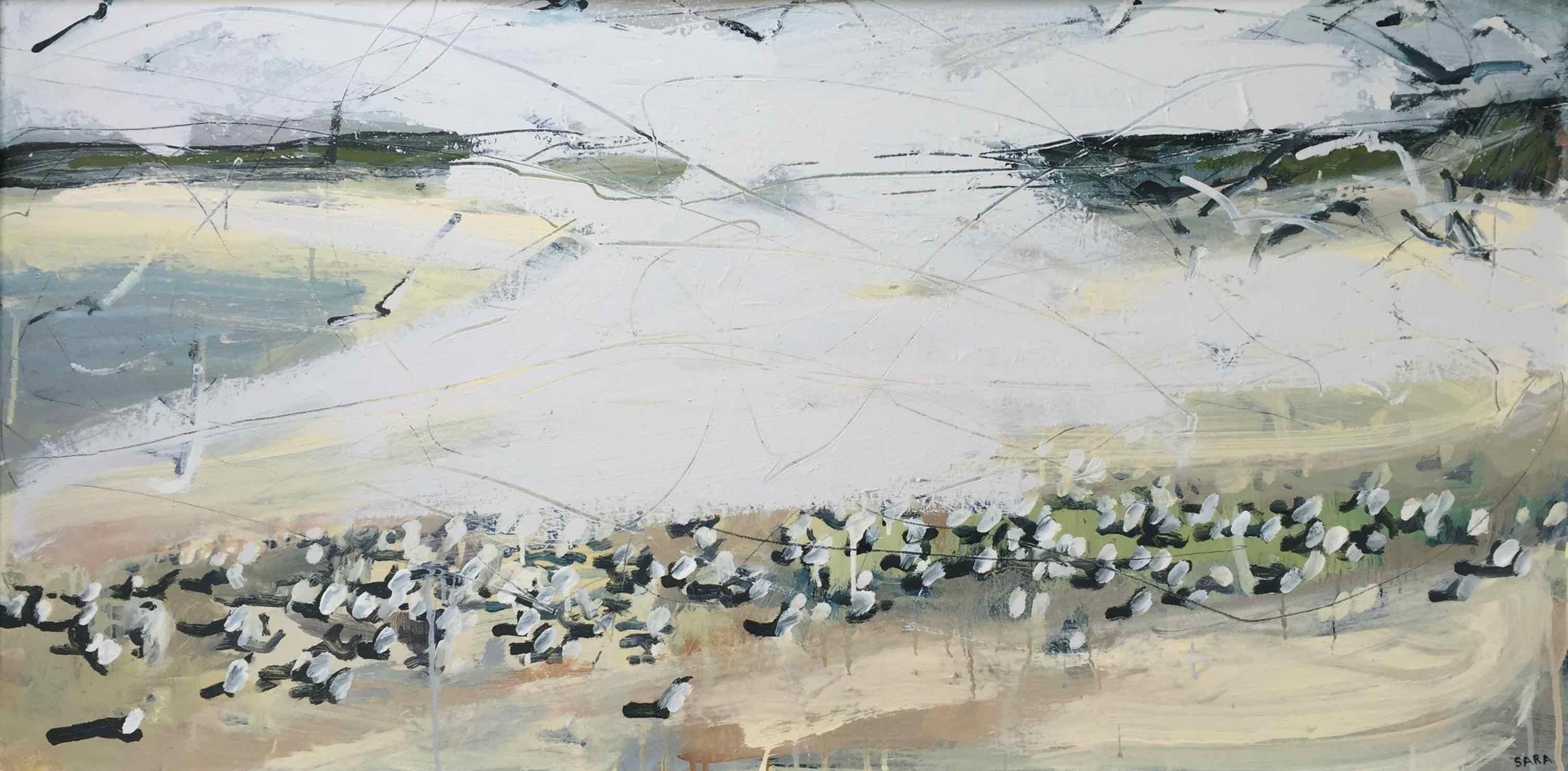 Sandpipers and Arctic Terns 1 (Northumberland): Oil Painting by Sara Dudman RWA
