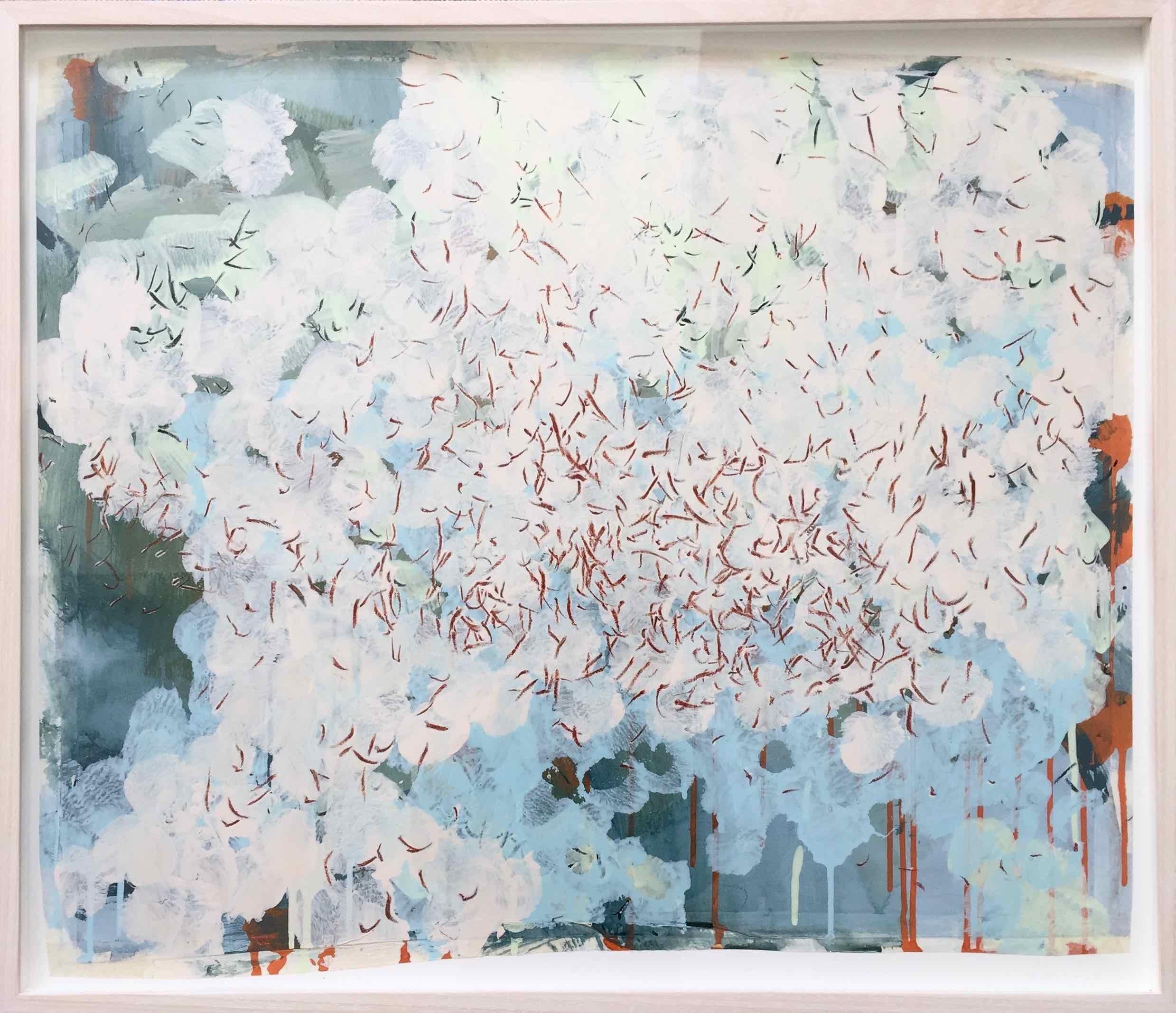 Swarm (Gran Sasso) 3: Painting of White Butterflies in flight by Sara Dudman RWA