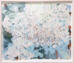 Swarm (Gran Sasso) 3: Painting of White Butterflies in flight by Sara Dudman RWA