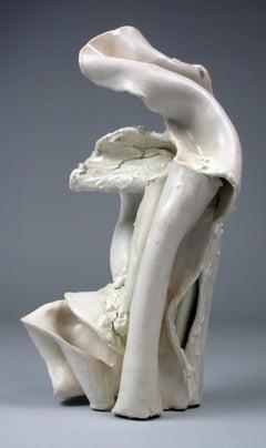 """Bend"", gestural, ceramic, sculpture, white, cream, stoneware"