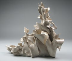 """""""Flip"""", gestural, ceramic, sculpture, white, cream, grey, blue, stoneware"""