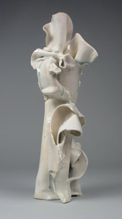 """Fold"", gestural, ceramic, sculpture, white, cream, grey, blue, stoneware"