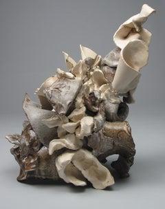 """Milky Jumble"", gestural, ceramic, sculpture, brown, cream, white, stoneware"