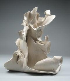 """""""Open"""", gestural, ceramic, sculpture, white, cream, blue, grey, stoneware"""