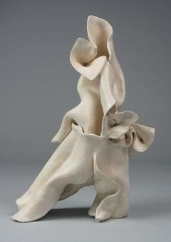 """Shift"", gestural, ceramic, sculpture, white, cream, stoneware"