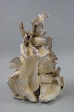 """""""Wave"""", gestural, ceramic, sculpture, yellow, cream, white, brown, stoneware"""