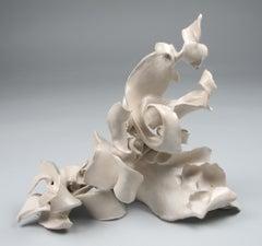 """Within"", gestural, ceramic, sculpture, cream and white, blue, grey stoneware"
