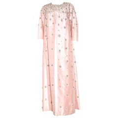 Sara Fredericks Vintage  Heavily Beaded Long Evening Pink Silk Coat