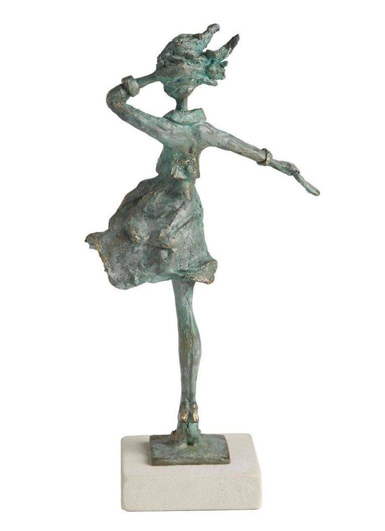 Breezy - slim figurative female bronze statue - Sculpture by Sara Ingleby-Mackenzie