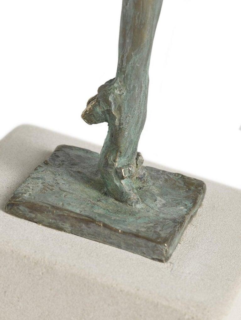 Breezy - slim figurative female bronze statue - Gold Figurative Sculpture by Sara Ingleby-Mackenzie