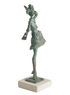 Breezy - slim figurative female bronze statue
