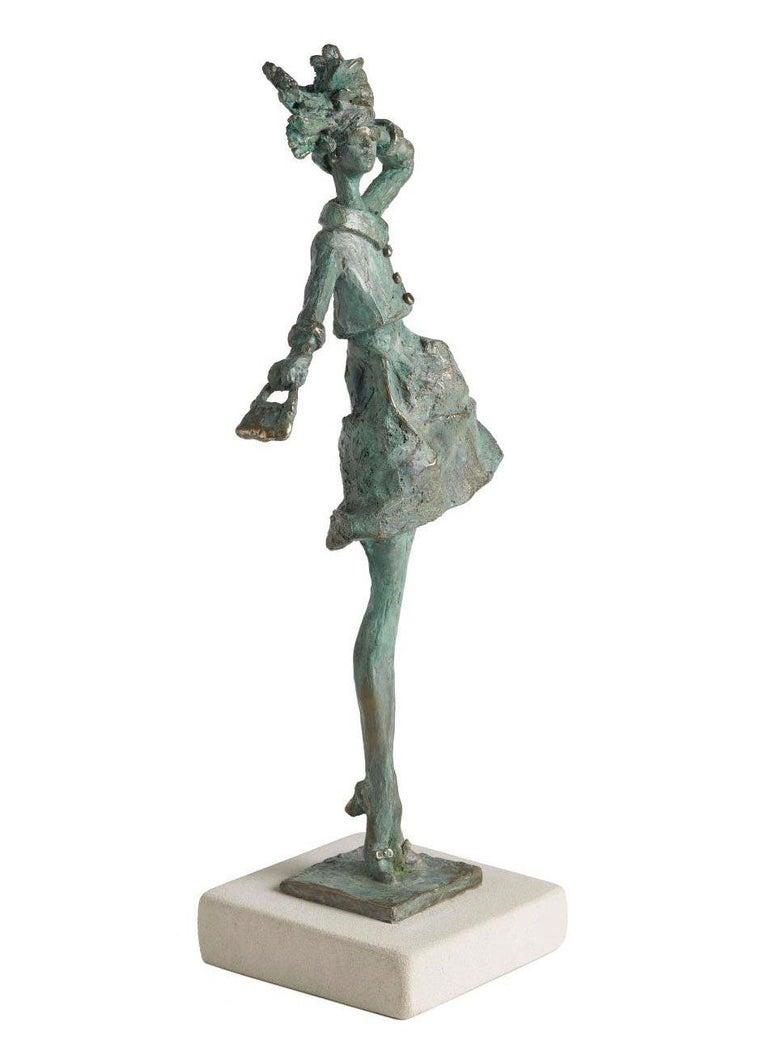 Sara Ingleby-Mackenzie Figurative Sculpture - Breezy - slim figurative female bronze statue