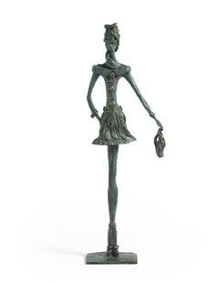 Double Date - slim figurative female bronze statue