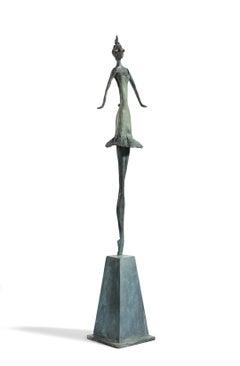 Gin Fizz - slim figurative bronze statue