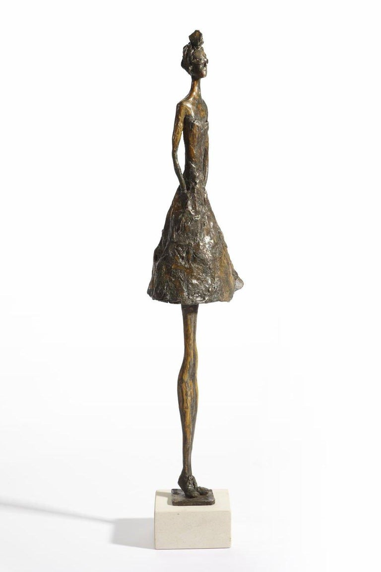Jersey Lily - slim figurative bronze statue - Contemporary Sculpture by Sara Ingleby-Mackenzie