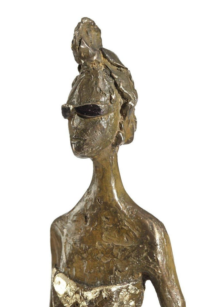 Jersey Lily - slim figurative bronze statue - Gold Figurative Sculpture by Sara Ingleby-Mackenzie