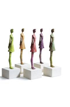 Puddings - slim figurative bronze statue