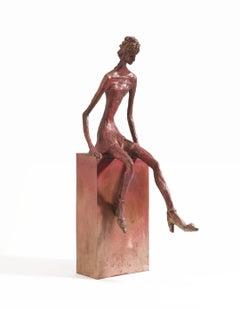 Saturday Night with Jimmy Who? - slim figurative bronze statue