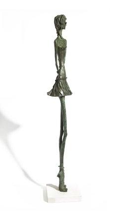 Uptown Girl - slim figurative bronze statue