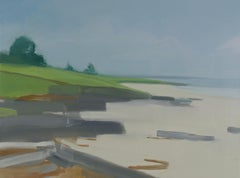 """Sara McCulloch """"Edge of the Beach"""" -- Summer Landscape Oil Painting on Canvas"""