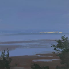 "Sara McCulloch ""Lights on the Horizon"" -- Coastal Evening Landscape Oil Painting"