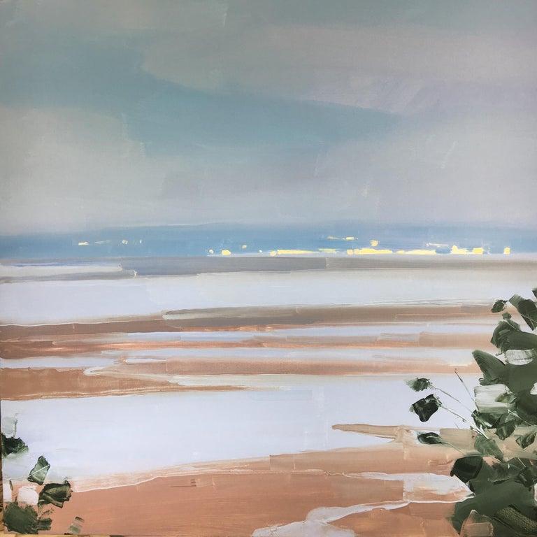 "Sara MacCulloch Landscape Painting - Sara McCulloch ""Low Tide"" -- Coastal Beach Landscape Oil Painting"