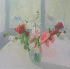 "Sara MacCulloch ""Paula's Hollyhocks"" - Interior oil on canvas"