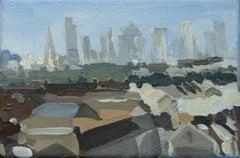 Dinky London City View By Sarah Adams, Original abstract postcard