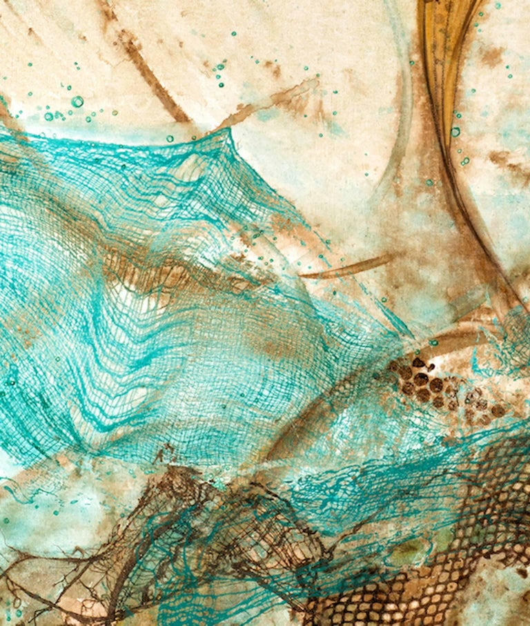 """Sarah Alexander's """"Envelop"""" is a mixed media painting on canvas of golden spiraling coils, weaving in and out of textural, earthy browns and vivid turquoise. This 30x40"""" mixed media painting has beautifully layered watercolor washes with subtle"""