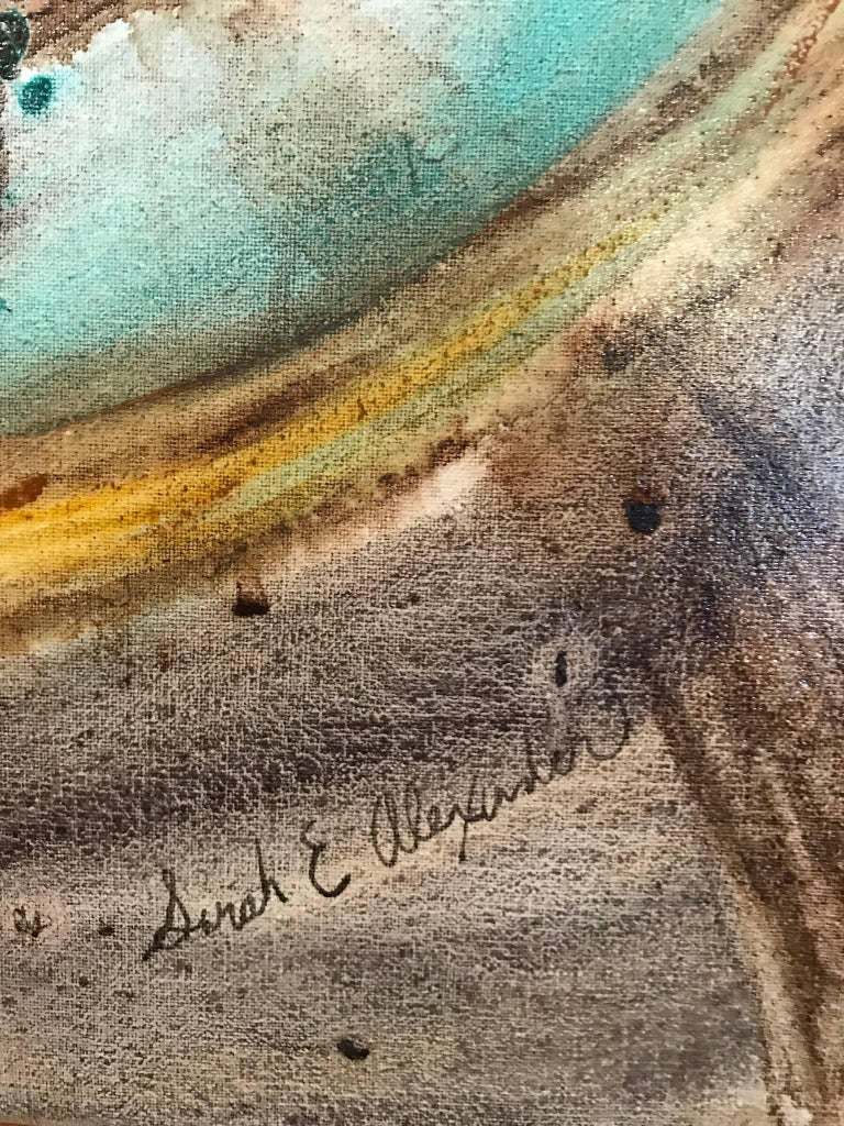 "Sarah Alexander's ""Envelop"" is a mixed media painting on canvas of golden spiraling coils, weaving in and out of textural, earthy browns and vivid turquoise. This 30 x 40 inch painting has beautifully layered watercolor washes with subtle inked"