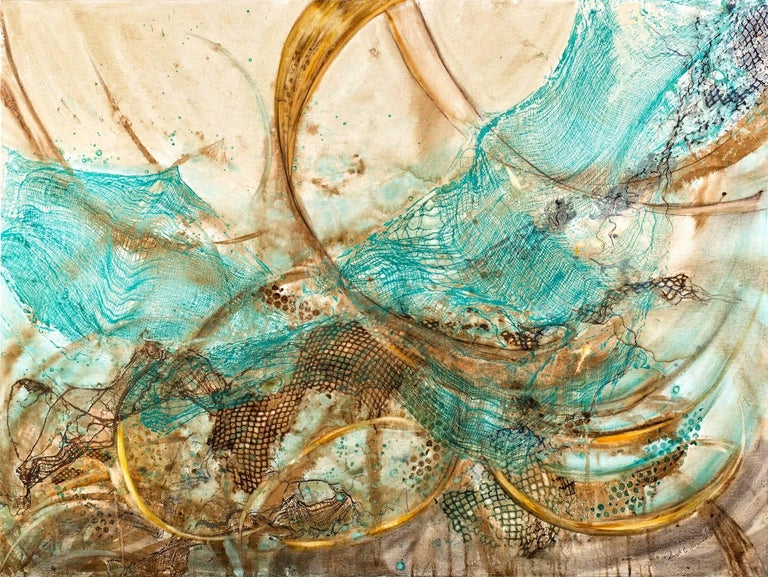 "Sarah Alexander Abstract Painting - ""Envelop"", mixed media, watercolor, abstract, painting, turquoise, browns"