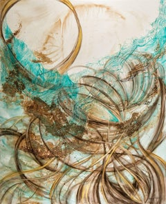 """In Flux"", Sarah Alexander, watercolor, mixed media, abstract, turquoise, brown"
