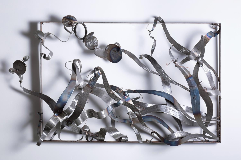 """Break Free"", contemporary, steel, wall sculpture, blue patina"