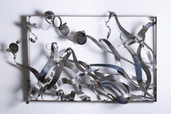 """Break Free"", Sarah Alexander, contemporary, steel, wall sculpture, blue patina"