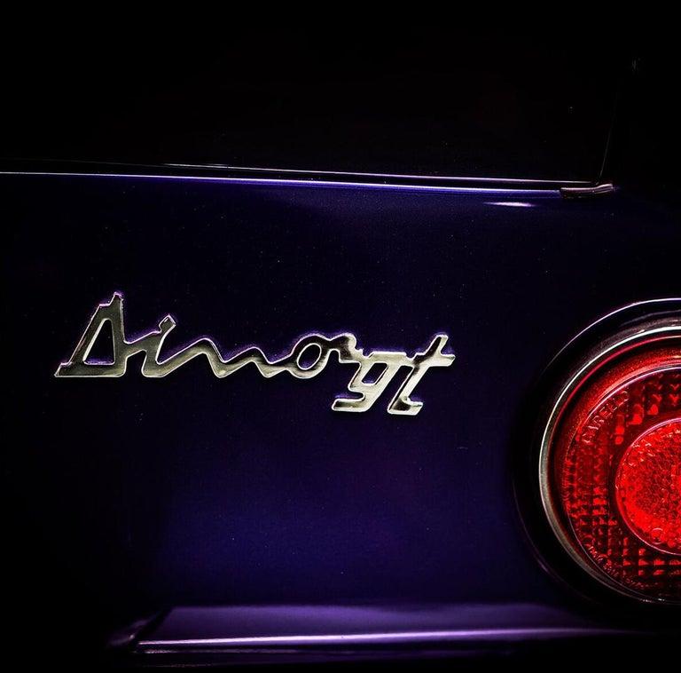 1969 Ferrari Dino 206 GT - contemporary purple car lambda print For Sale 1