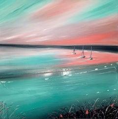 Sarah Berger, Watermelon Margarita Bay, Coastal Art, Affordable Contemporary Art