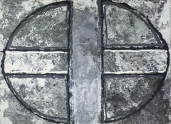 Black & White Oval & Cross II: Abstract Mixed Media Paper Pulp Painting, Framed