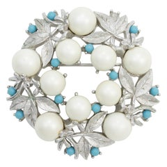 Sarah Coventry Floral Wreath Brooch, Faux Pearls and Blue Beads, Silver