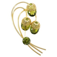Sarah Coventry Gold Acorn Branch Brooch, Green Olivine Crystals