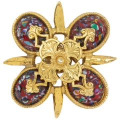 Sarah Coventry Gold Red Easter Cabochon Maltese Cross Pin Brooch, Late 1900s