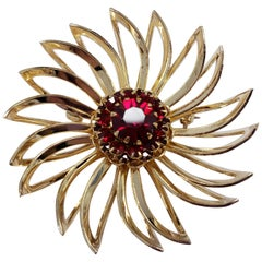 Sarah Coventry Ruby Red Crystal Gold Tone Curved Flower Pin Brooch