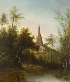 Figures by a Pond with Cattle and a Church beyond by circle of Sarah Ferneley