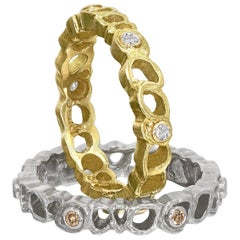 Sarah Graham White and Champagne Diamond Gold Stacking Shadow Band Rings