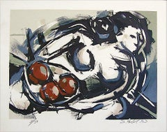 FEMALE NUDE WITH FRUIT Signed Lithograph, Modernist Abstract Nude w Fruit Bowl