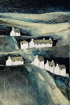 In the Valley - contemporary textured countryside landscape mixed media
