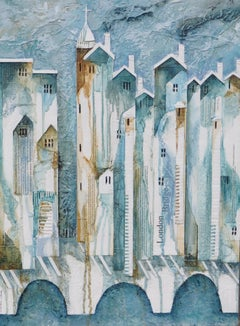 London Bridge is Falling Down - contemporary textured landscape mixed media