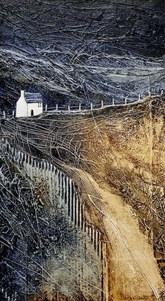 Shepherd's Cottage - contemporary textured mixed media countryside landscape