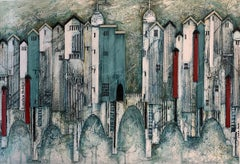 The Risks of the Watermen - contemporary textured mixed media townscape painting