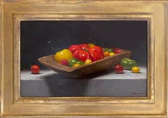 Heirloom Tomatoes (still life, fresh, full-bodied, orange-red, yellow, green)