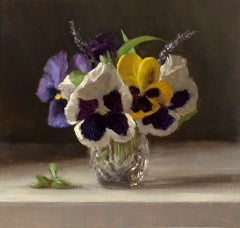 Pansies in a Glass Jigger